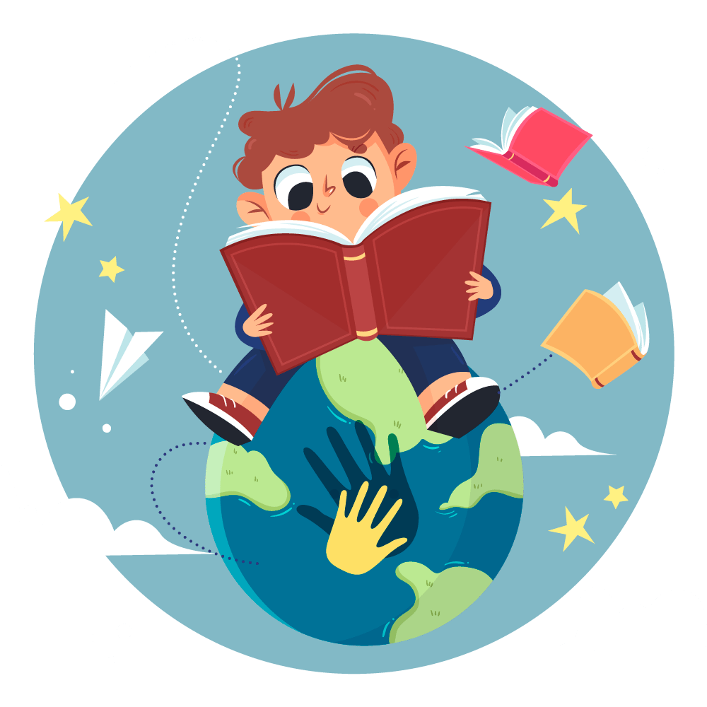 a cartoon boy sitting on the world and reading